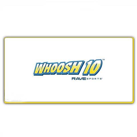 White Rave Water Whoosh 10 Inflatable Water Mat with yellow border and lettering on the middle of the inflatable water mat. Overhead view on a white background.