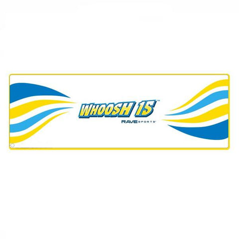 Overhead view of the white Rave Water Whoosh 15 Inflatable Water Mat with yellow border and yellow and blue waves coming from both ends of the rectangular inflatable water mat.  Overhead view of the Rave floating water mat on a white background.
