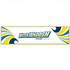 Overhead view of the white Rave Water Whoosh 20' Inflatable Water Mat with yellow and blue waves on the rectangular inflatable water mat.  Top view on white background.
