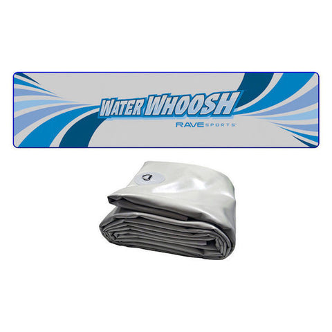 Overhead view of a Rave Water Whoosh 20' Inflatable Water Mat above a picture of a rolled up Rave Water Whoosh floating water mat.  Rave floating water mats are easy to set up and easy to transport.