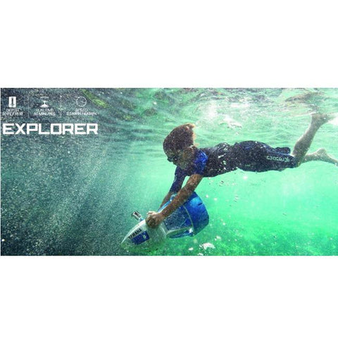Side view of a young teenager  underwater with his blue and white Yamaha Explorer Sea Scooter.  Spces are also on the graphic.