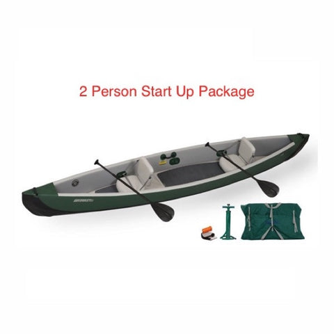 Sea Eagle Inflatable Canoe 16 2 Person Start Up Package display view.