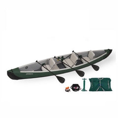 Green shell with grey interior Sea Eagle Inflatable Canoe 16 top display view with the bag and pump sitting next to the Sea Eagle inflatable SUP.