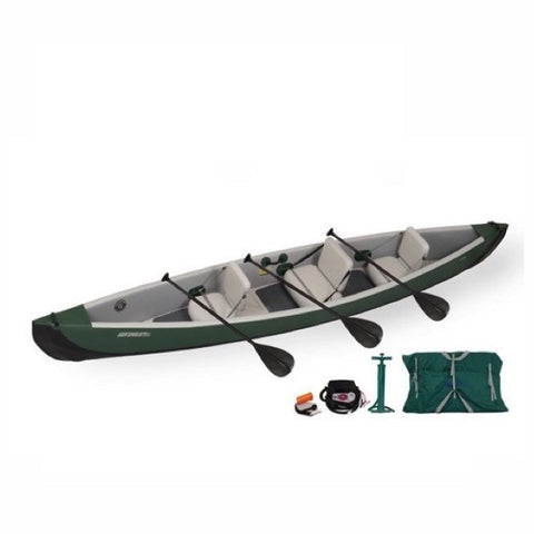Sea Eagle Inflatable Travel Canoe 16 display pic with carry bag, electric pump, hand pump