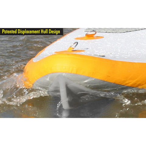 Nose of the Advanced Elements FishBone EX Inflatable SUP cutting through the water.