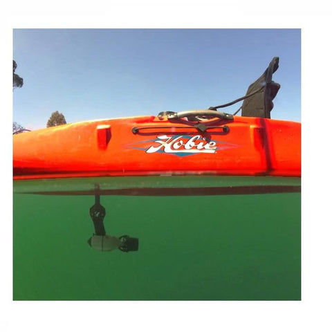 Underwater view of the Bixpy Hobie Mirage Pedal Adapter.  Shown attached to an orange Hobie Kayak and in place underneath the seat of the kayak.