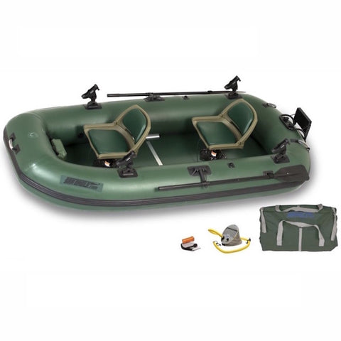 Hunter green Sea Eagle Stealth Stalker 10 Inflatable Fishing Boat with 2 seats top display view with the bag and pump sitting next to the Sea Eagle inflatable fishing boat.