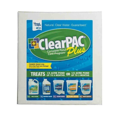 Pond Logic ClearPAC PLUS MuckAway label is shown.  It has a thick white boarder and is blue and green with white and yellow lettering.