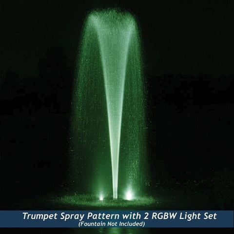 Airmax RGBW Color-Changing LED Fountain Kit, Green light lights up the tall fountain.