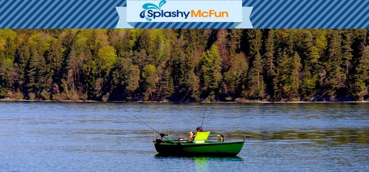 Splashy McFun Homepage.  Kayaker in the middle of the lake of a fall day, relaxing.