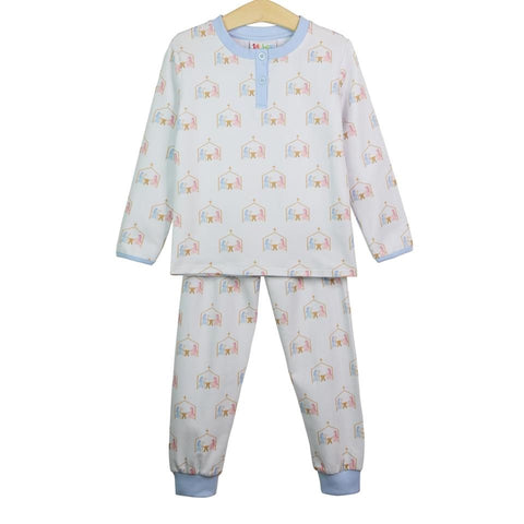 Oh Holy Night Nativity Print 2 Piece Loungewear in Blue