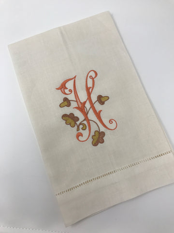 Fancy Acorn Monogram Guest Towel Duo