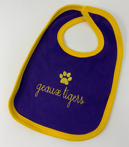 Purple and Gold bib