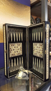 Backgammon/chessboard with mosaic woodwork and seashells