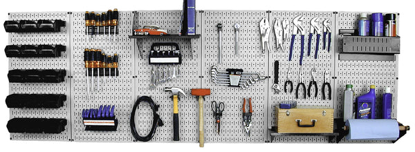 8ft Metal Pegboard Master Workbench Kit - Gray Toolboard & Black Accessories