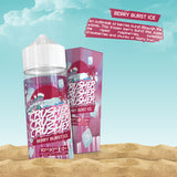Crusher - Berry Burst Ice. An outbreak of berries burst through the waves. This frozen berry burst mix fuses the ripest raspberries, sweetest strawberries and chunks of fleshy kiwi. Available in 100ml Shortfill 0mg Nicotine. E-Liquid from Prohibition®