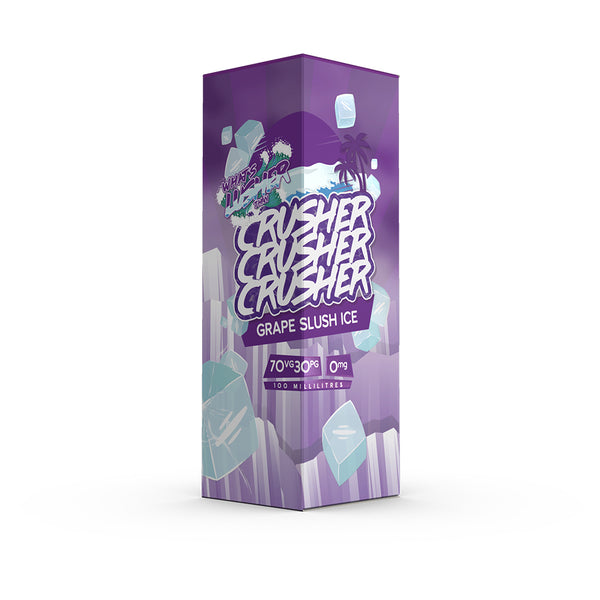 Crusher - Grape Slush Ice. Gnarly grapes bruh! Get the wax out and streamline through this slushy purple mix. A cold cocktail topped with ice to help you roll through the ripping waves. Available in 100ml Shortfill 0mg Nicotine. E-Liquid from Prohibition®