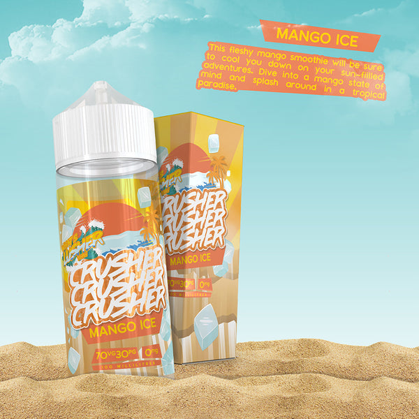 Crusher - Mango Ice. This fleshy mango smoothie will be sure to cool you down on your sun-filled adventures. Dive into a mango state of mind and splash around in a tropical paradise. Available in 100ml Shortfill 0mg Nicotine. E-Liquid from Prohibition®