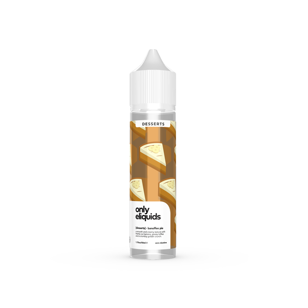 Only eliquids - Banoffee Pie. A smooth and creamy texture with freshly cut banana, gooey toffee and a crumbly golden crunch. Available in 50ml Shortfill 0mg Nicotine. E-Liquid from Prohibition®
