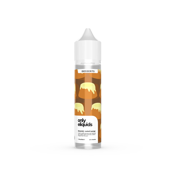 Only eliquids - Custard Sponge. A warm vanilla sponge cake lathered with a fresh, sweet and silky custard straight from the pot. Available in 50ml Shortfill 0mg Nicotine. E-Liquid from Prohibition®