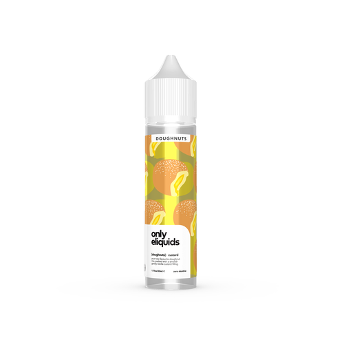 Only eliquids - Custard Doughnuts. Your new favourite doughnut mix, packed with a smooth gooey vanilla custard filling. Available in 50ml Shortfill 0mg Nicotine. E-Liquid from Prohibition®