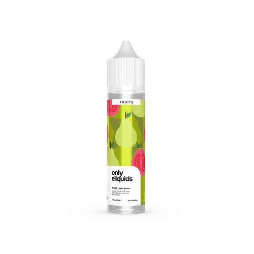 Only eliquids - Pear Guava. An epic mix of fresh pear, ripened guava and juicy clementines. Available in 50ml Shortfill 0mg Nicotine. E-Liquid from Prohibition®