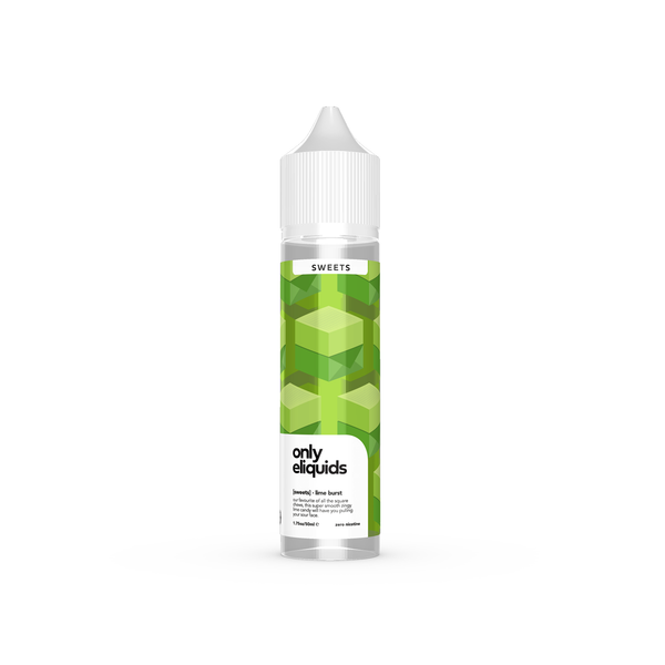 Only eliquids - Lime Burst. Our favourite of all the square chews, this super smooth zingy lime candy will have you pulling your sour face. Available in 50ml Shortfill 0mg Nicotine. E-Liquid from Prohibition®