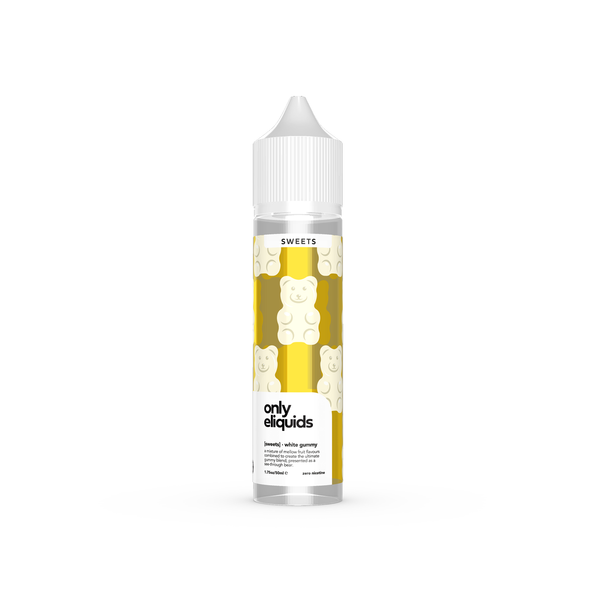 Only eliquids - White Gummy. A mixture of mellow fruit flavours combined to create the ultimate gummy blend, presented as a see-through bear. Available in 50ml Shortfill 0mg Nicotine. E-Liquid from Prohibition®
