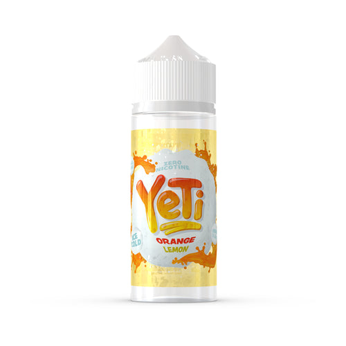 Yeti - Orange Lemon. This crisp, citrus sorbet will melt away on your tongue, keeping your thirst quenched while you follow the curious footsteps in the snow. Available in 100ml Shortfill 0mg Nicotine