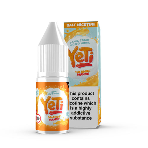 Orange Mango by Yeti - 20mg Salt Nic. Frozen in time. The Yeti's classic blend of orange and mango comes together to create an avalanche of flavour. Also available in 100ml Shortfill 0mg Nicotine. E-Liquid from Prohibition®