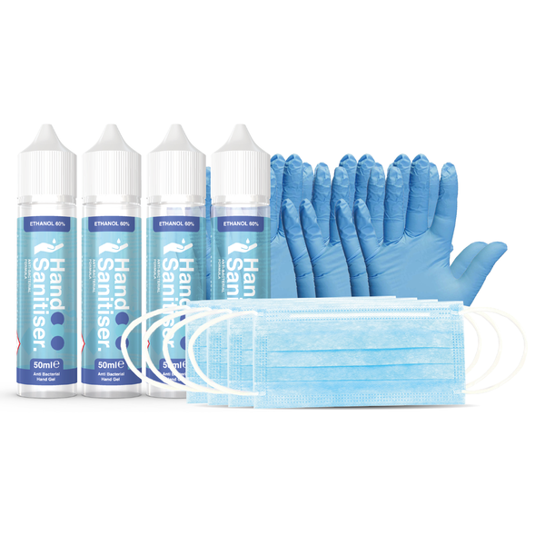 We have put together a kit for the whole family, or if you just want to stock up your supplies. Pack includes hand sanitiser gel 50ml UK made x4 bottles, Disposable face masks x4 and rubber gloves pair x4 provided in a Prohibition zip seal bag.