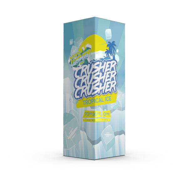 Crusher - Tropical Ice. Guaranteed to give you a crush for tropical fruits. Sit back in the shade of the palms, squeeze and unleash this exotic delight. Descend into Club Tropicana, where a good vape is always free. Available in 100ml Shortfill 0mg Nicotine. E-Liquid from Prohibition®