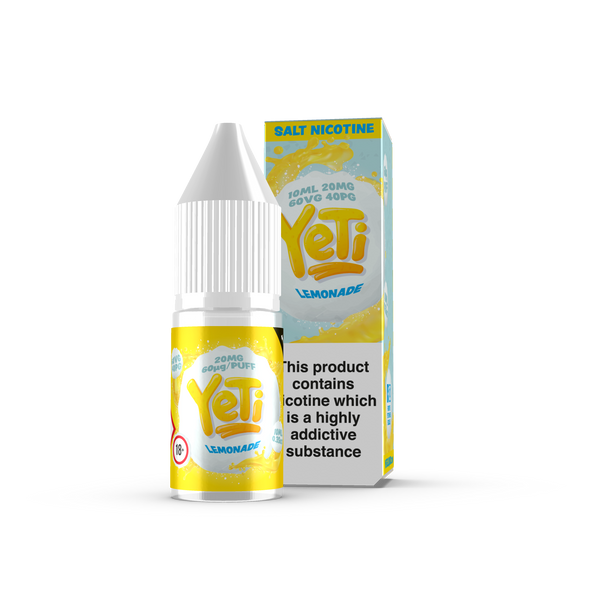 Lemonade by Yeti - 20mg Salt Nic. Frosted lemons are plucked, thawed, twisted and squeezed to produce this refreshingly timeless lemonade. Also available in 100ml Shortfill 0mg Nicotine. E-Liquid from Prohibition®