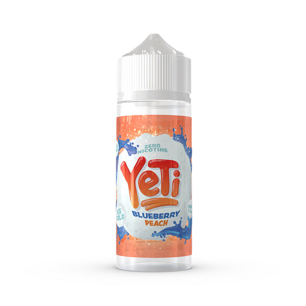 Yeti - Blueberry Peach. Mysteriously iced blueberries are pressed into a fleshy snowball with a sweet peach nectar. A berry cold liquid for all to enjoy. Available in 100ml Shortfill 0mg Nicotine. E-Liquid from Prohibition®