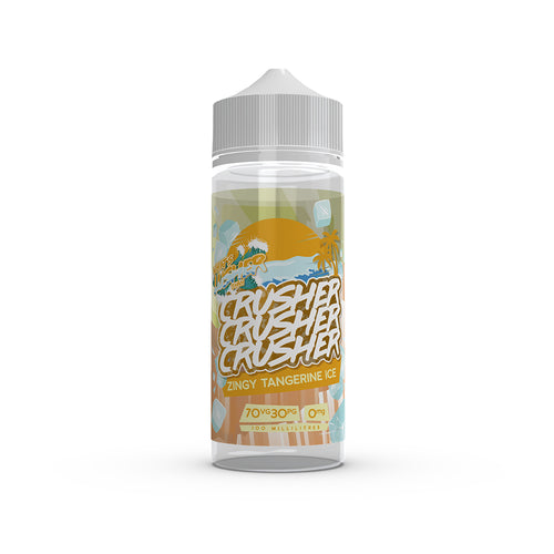 Crusher - Zingy Tangerine Ice. Prepare for the zing! Freshly pressed tangerines, poured over a glass full of crushed ice, the perfect naturally sweet treat to set you up for the day. Available in 100ml Shortfill 0mg Nicotine. E-Liquid from Prohibition®
