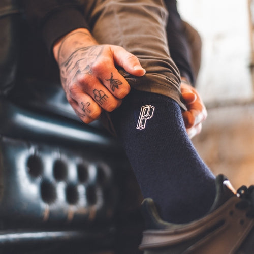 'P' Long Socks - Navy Blue (1 x Pair)-Prohibition Vapes