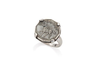 STERLING HORSE COIN RING