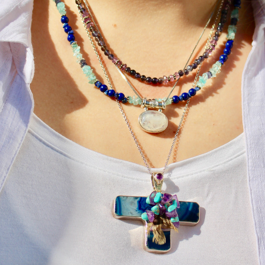 Amethyst & Iolite gemstone necklace by SAJEN