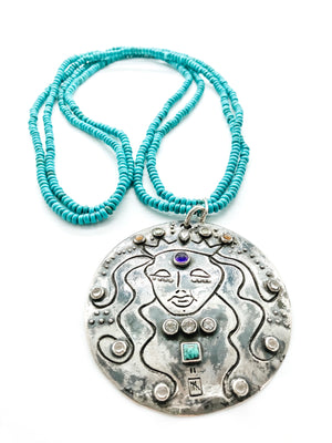 Mermaid Medallion Double Strand Turquoise