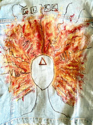 upcycled Womens hand painted jean jacket