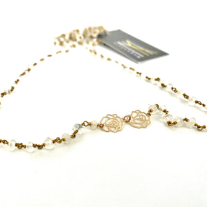 Rosary and Gold Rose Necklace