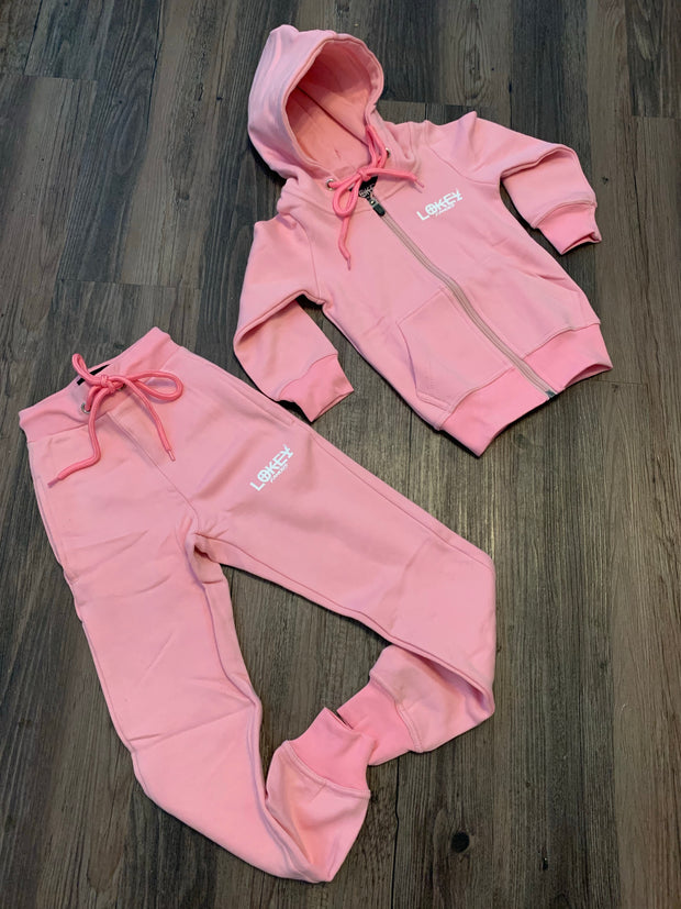 Kids pink w/white logo jogger set