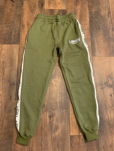 Olive Green sweatpants with white stripe