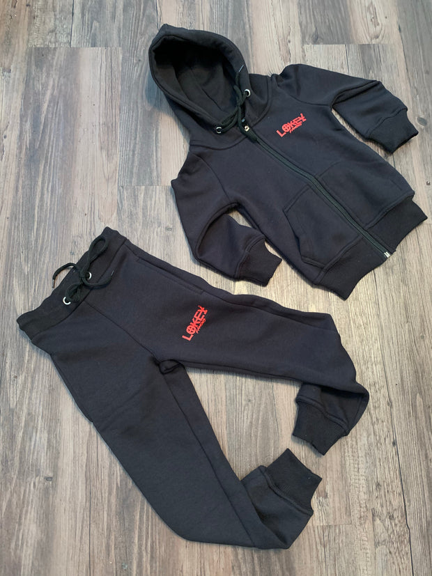 Kids black w/red logo jogger set
