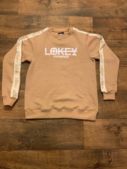 Tan sweatshirt with white stripe
