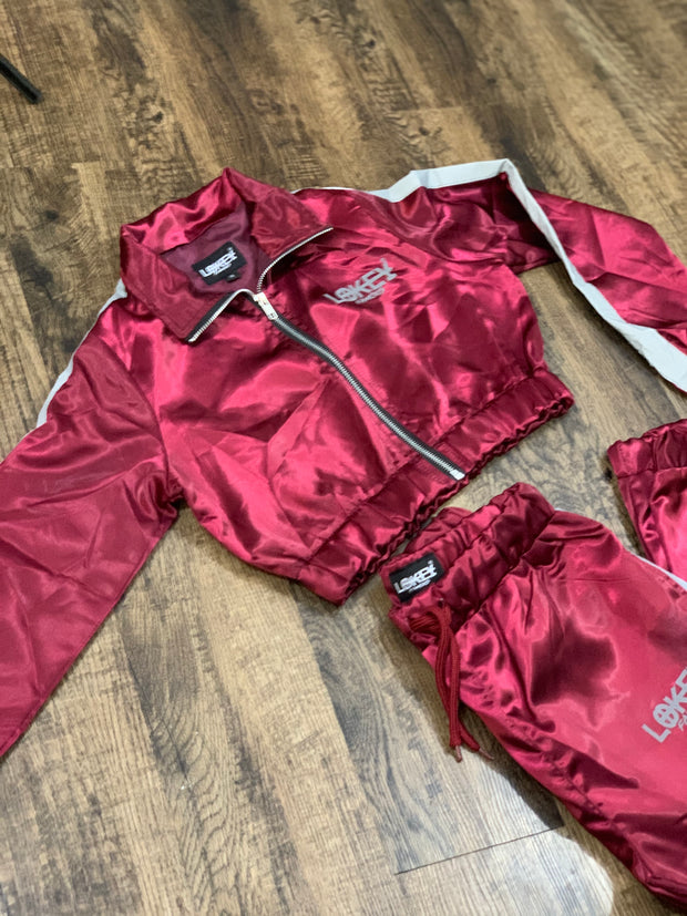 Burgundy women's track jacket
