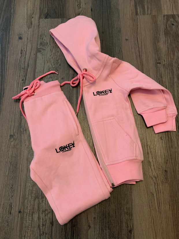 Kids pink w/black logo jogger set