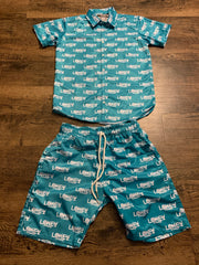 Teal Lokey Famous button up