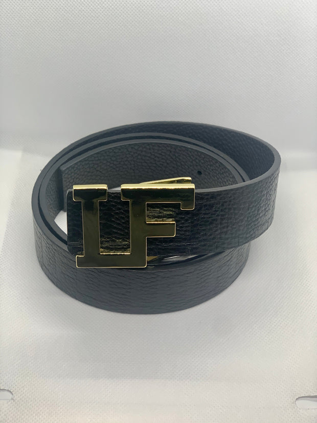 Lokey Famous Designer Belt (black w/gold buckle)