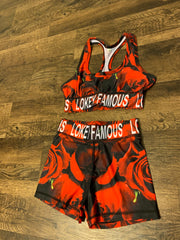 Red rose printed sports bra